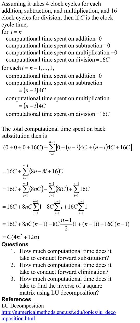 Back Substitution Computational Time