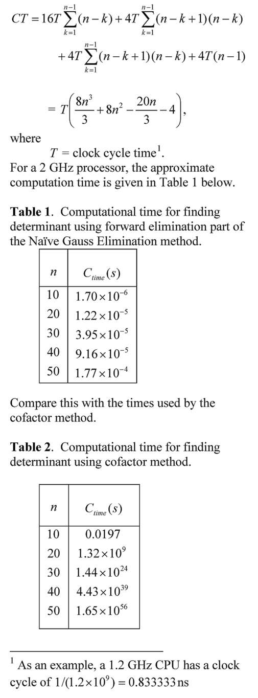 Computational time to find determinant